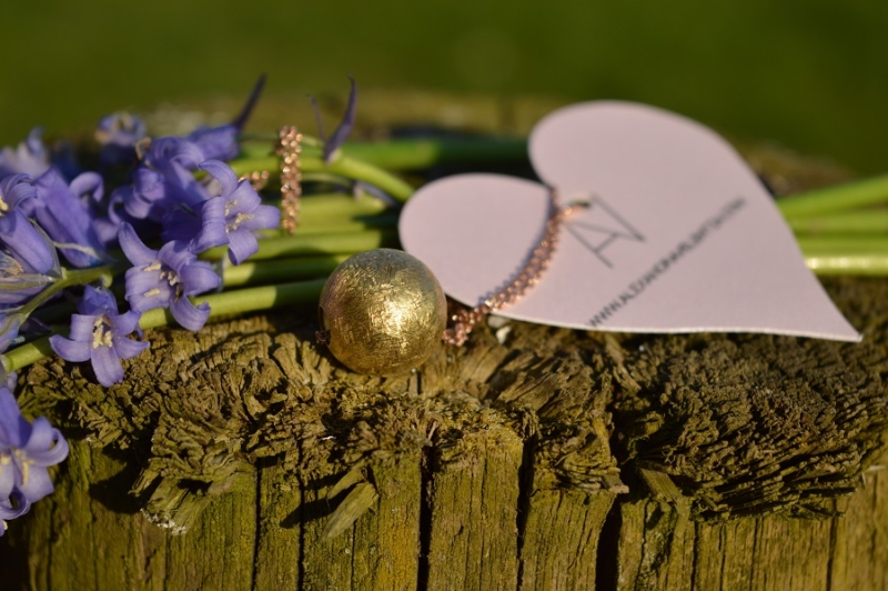 gold ball, pink heart, flowers