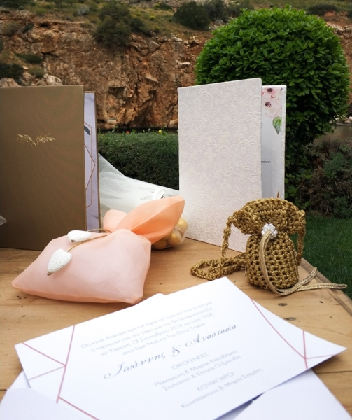 gold, pouch, wedding invitations
