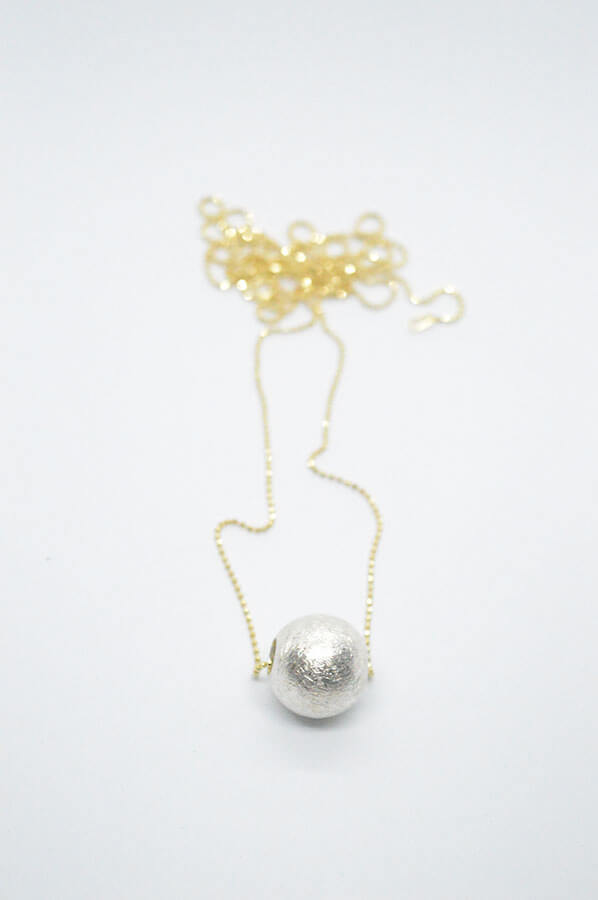 Silver ball gold necklace