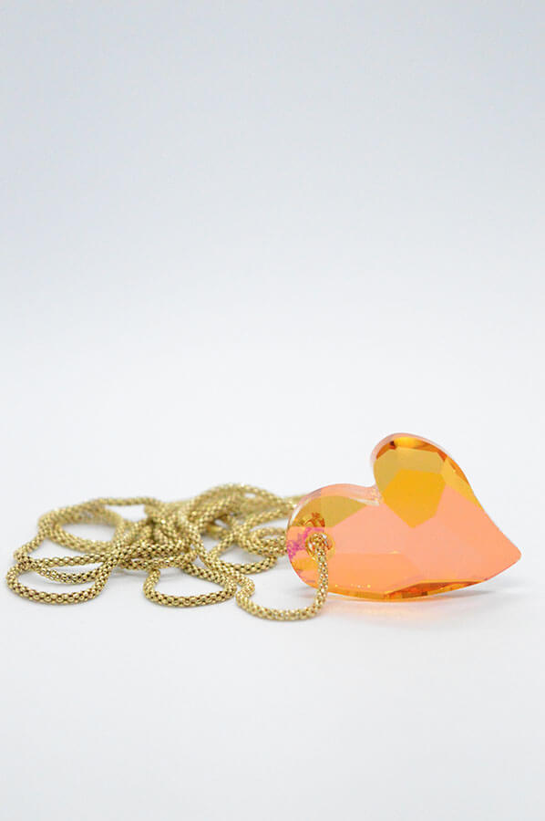 Swarovski Heart Necklace orange gold chain