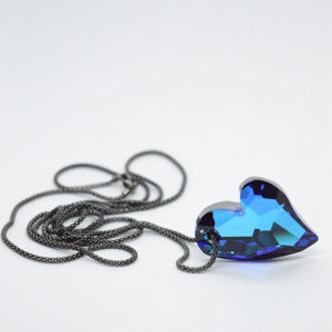 blue swarovski heart black chain