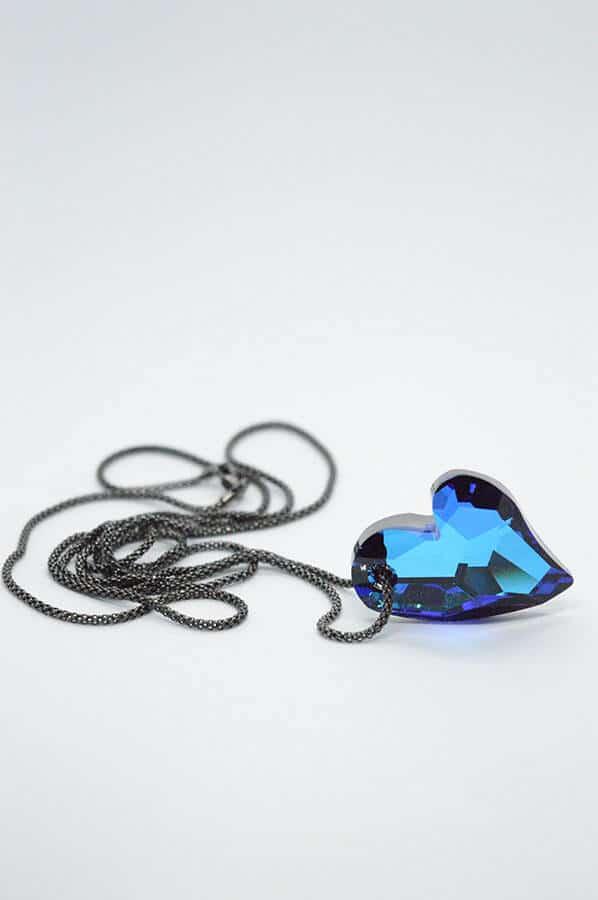 μπλε καρδιά swarovski