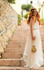 μαγαριτάρια στεφανάκι τσαντάκι νύφη γυναίκα χρυσό