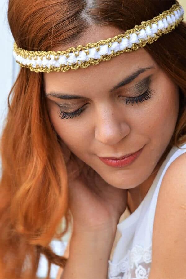 γυναίκα στεφανάκι λευκό χρυσό