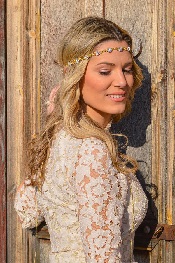 bride woman wreath hair accessory