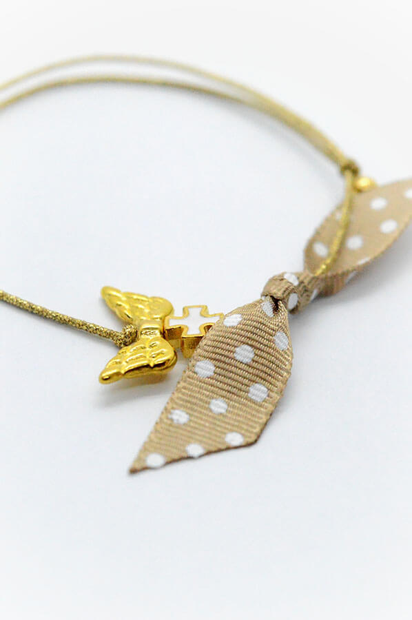 μαρτυρικά βραχιόλι χρυσό φτερά αγγέλου λευκός σταυρός πουά κορδέλα