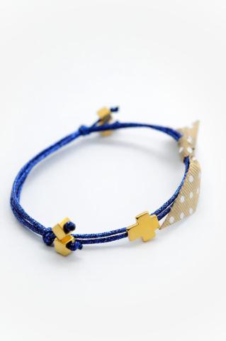 χρυσος σταυρος μπλε νημα βραχιολι