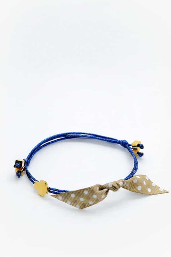 gold cross blue polka dots bracelet