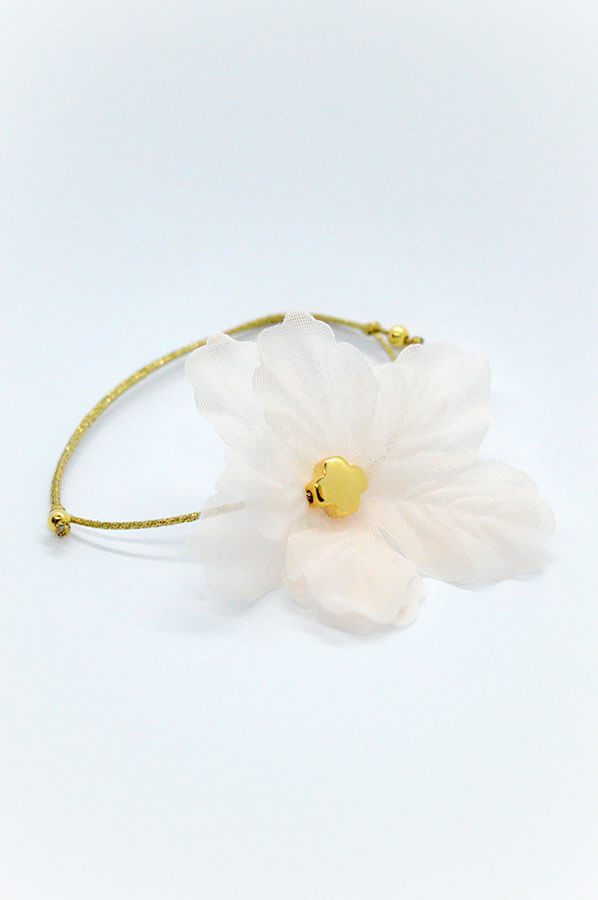 pink flower gold cross bracelet