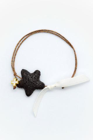 αστερίας αστέρι βραχιόλι σταυρός χρυσό πουά κορδέλα καφέ