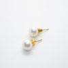 freshwater pearl white earrings gold