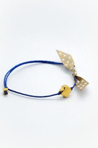 χρυσός σταυρός μπλε νήμα βραχιολι πουα κορδέλα