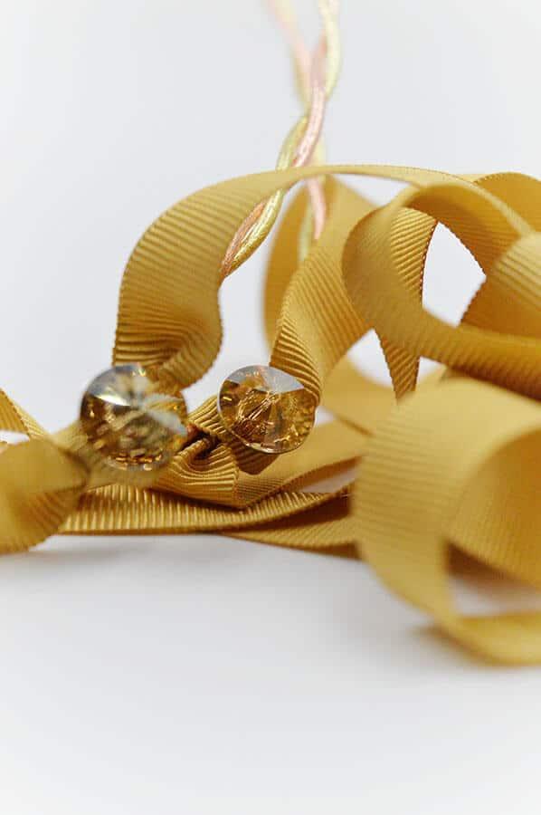 swarovski χρυσή κορδέλα ροζ χρυσά