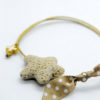 star cross bracelet brown polka dots