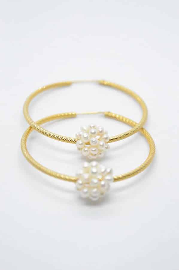 μαργαριτάρια κρίκοι σκουλαρίκια χρυσά