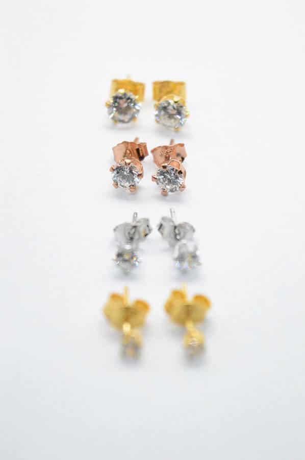 zircon earrings gold rose silver