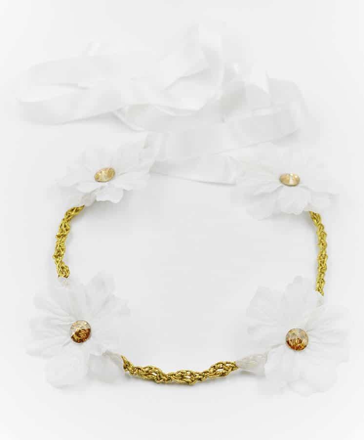 λουλούδια swarovski λευκο χρυσό στεφανάκι
