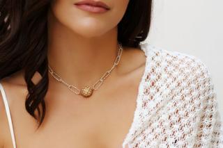 necklace gold silver ball zircon