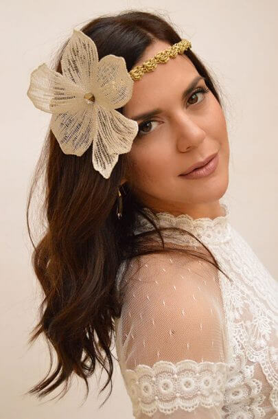 woman gold flower lace hair accessory bride