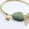 green heart gold cross bracelet