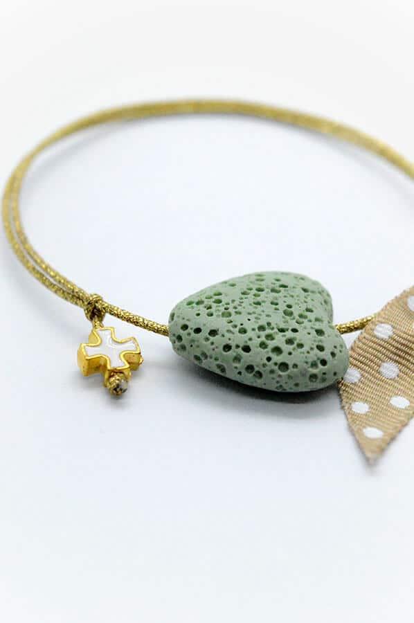 πρασινη καρδιά βραχιόλι μαρτυρικά πουά κορδέλα χρυσό