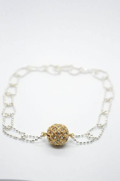 gold silver zircon necklace