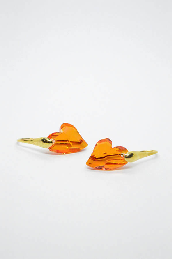 swarovski hearts orange gold earrings