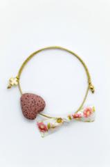 pink heart gold cross bracelet