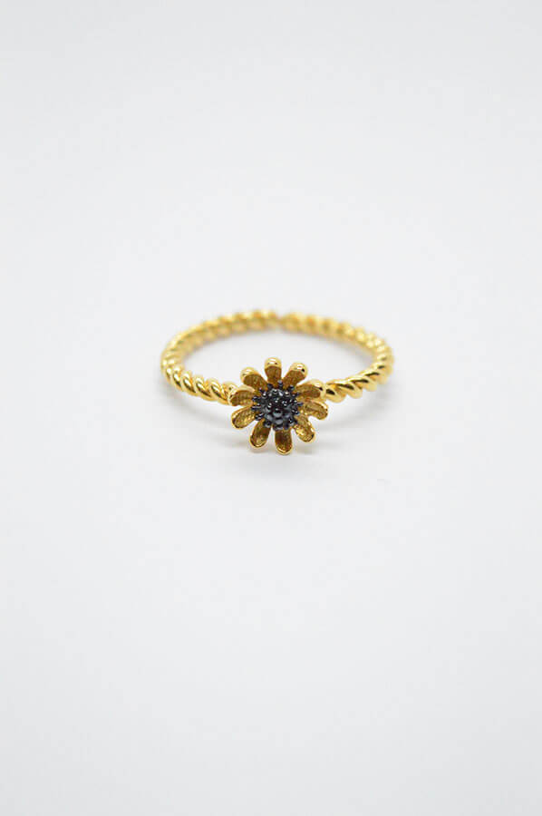 flower daisy gold ring