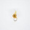 pearl ring gold black flower