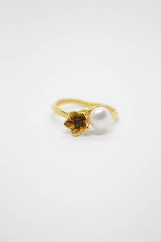 επιχρυσωμένο δαχτυλίδι μαργαριτάρι λουλούδι