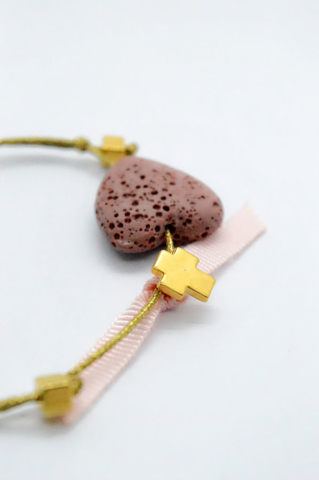ροζ καρδιά λάβα χρυσός σταυρός βραχιόλι