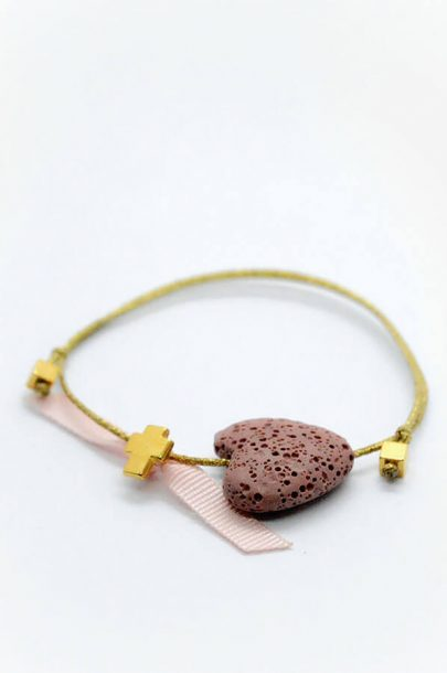 pink heart gold cross bracelet