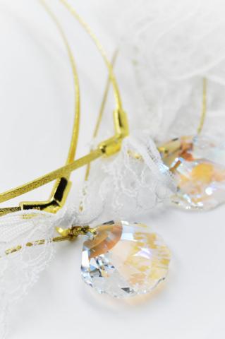 χρυσό swarovski κοχύλι δαντέλα