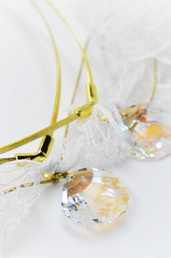 shell swarovski gold white lace