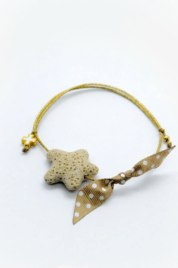 starfish cross bracelet brown polka dots