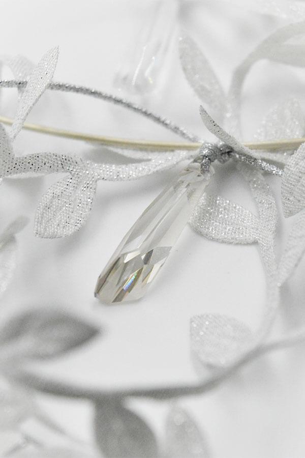 silver leaves lace swarovski