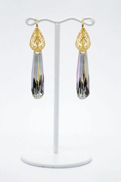 Swarovski Drop Earrings gold purple