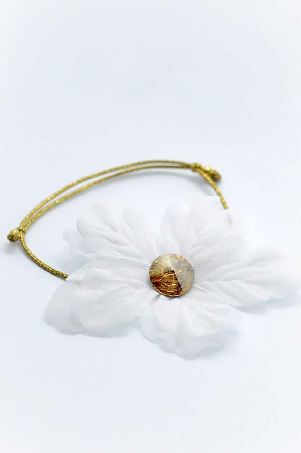 swarovski gold bracelet white flower