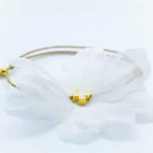 white flower gold cross bracelet