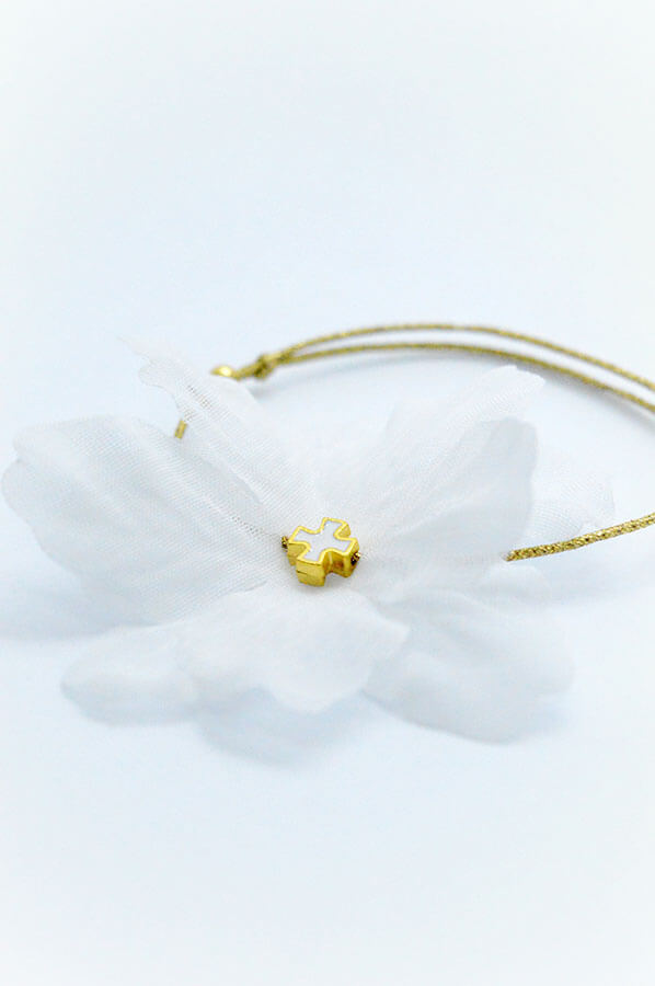 white flower gold cross bracelet