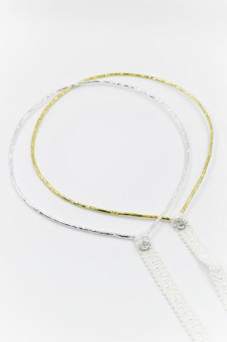 στεφανα ασημενιο χρυσο swarovski λευκη δαντελα