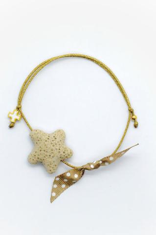 αστερίας αστέρι βραχιόλι σταυρός χρυσό πουά κορδέλα