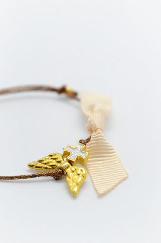 μαρτυρικά βραχιόλι χρυσό φτερά αγγέλου λευκός σταυρός κορδέλα