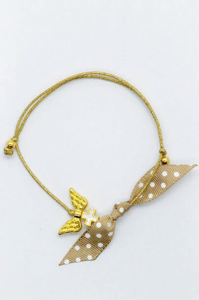 gold wings cross bracelet brown polka dots