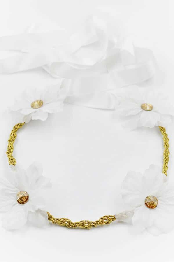 flowers white gold swarovski wreath