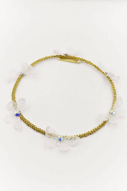 wreath hair accessory butterflies swarovski gold white