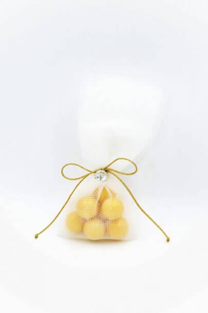χρυσά κουφέτα swarovski φιόγκος τούλι