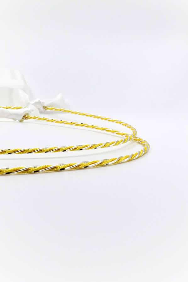 χρυσο ασημι λευκη κορδελα