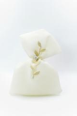 λευκο πουγκι χρυση δαντελα φυλλα swarovski